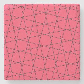 Modelo rosado de neón de las rayas negras posavasos de piedra