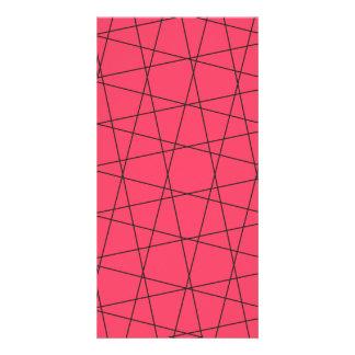 Modelo rosado de neón de las rayas negras tarjetas fotográficas personalizadas