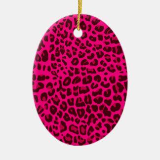 Modelo rosado de neón del estampado leopardo ornamentos de navidad