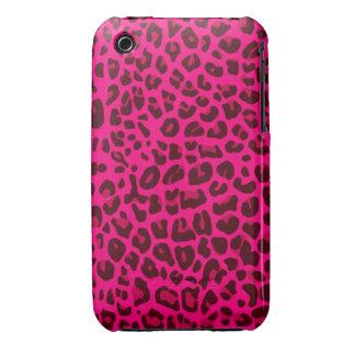 Modelo rosado de neón del estampado leopardo iPhone 3 cárcasa