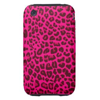 Modelo rosado de neón del estampado leopardo tough iPhone 3 protectores