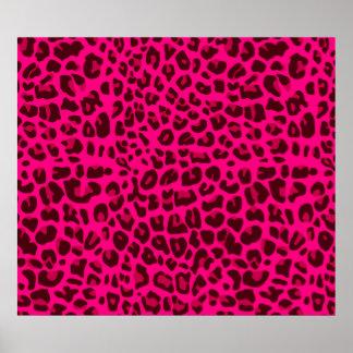 Modelo rosado de neón del estampado leopardo póster
