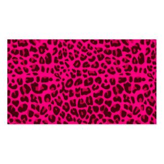 Modelo rosado de neón del estampado leopardo plantilla de tarjeta personal