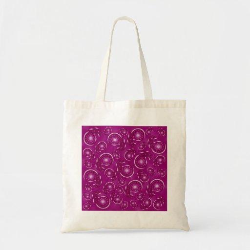 Modelo rosado de Paisley de la púrpura y del color Bolsas De Mano