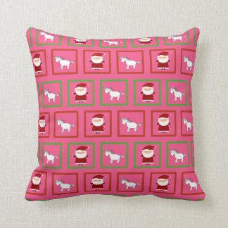 Modelo rosado de Papá Noel de los unicornios Cojin