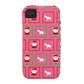Modelo rosado de Papá Noel de los unicornios iPhone 4 Carcasas