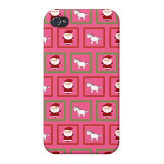 Modelo rosado de Papá Noel de los unicornios iPhone 4 Protector