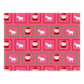 Modelo rosado de Papá Noel de los unicornios Tarjeta Postal