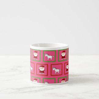 Modelo rosado de Papá Noel de los unicornios Taza Espresso