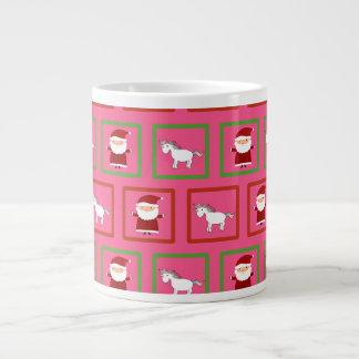 Modelo rosado de Papá Noel de los unicornios Taza Grande