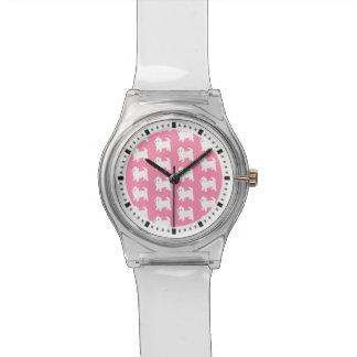 Modelo rosado de Westie - perros del oeste de Reloj De Mano