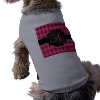 Modelo rosado del argyle del monograma camiseta sin mangas para perro
