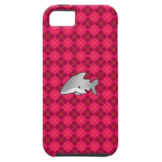 Modelo rosado del argyle del tiburón iPhone 5 carcasa