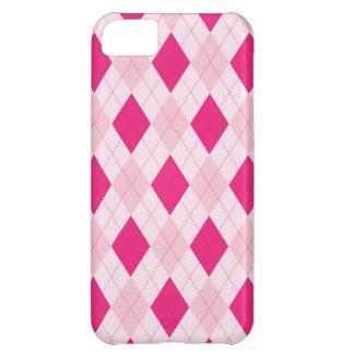 Modelo rosado del argyle funda para iPhone 5C