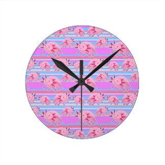Modelo rosado del Axolotl del albino Relojes De Pared