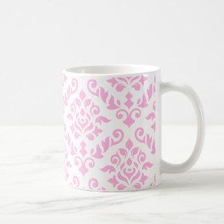Modelo rosado del Barroco del damasco Taza Clásica