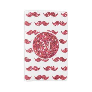 Modelo rosado del bigote del brillo su monograma cuaderno grande moleskine