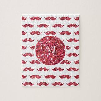 Modelo rosado del bigote del brillo su monograma puzzles