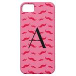 Modelo rosado del bigote del monograma funda para iPhone 5 barely there