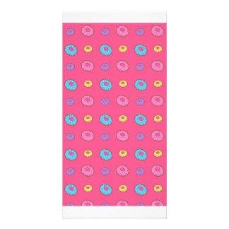 Modelo rosado del buñuelo tarjeta personal con foto
