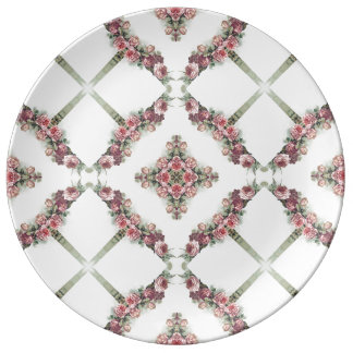 Modelo rosado del caleidoscopio de los rosas plato de cerámica