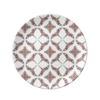 Modelo rosado del caleidoscopio de los rosas platos de cerámica
