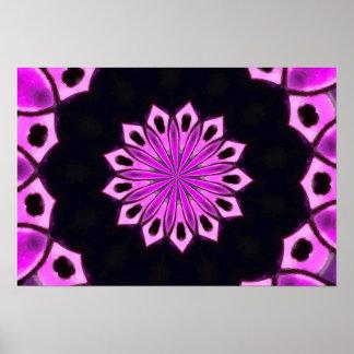 Modelo rosado del caleidoscopio póster