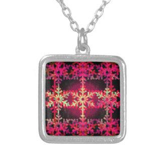 Modelo rosado del copo de nieve del navidad colgante cuadrado
