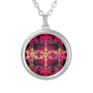 Modelo rosado del copo de nieve del navidad colgante redondo