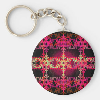 Modelo rosado del copo de nieve del navidad llavero redondo tipo pin