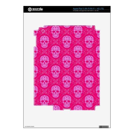 Modelo rosado del cráneo del azúcar pegatinas skins para iPad 3