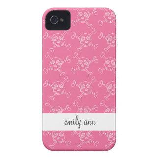 Modelo rosado del cráneo del punk rock del Doodle iPhone 4 Case-Mate Protectores