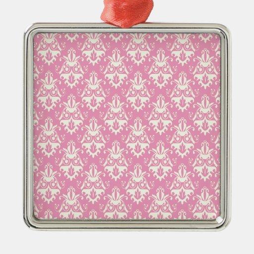 Modelo rosado del damasco adorno navideño cuadrado de metal