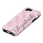 Modelo rosado del damasco con nombre gris iPhone 5 cárcasas