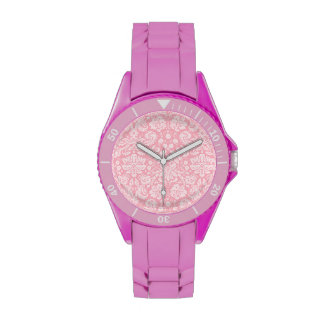 Modelo rosado del damasco del chicle relojes