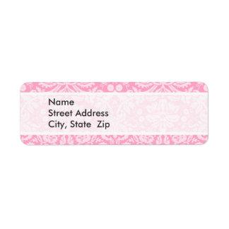 Modelo rosado del damasco del clavel etiquetas de remite