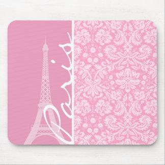 Modelo rosado del damasco del clavel tapetes de raton