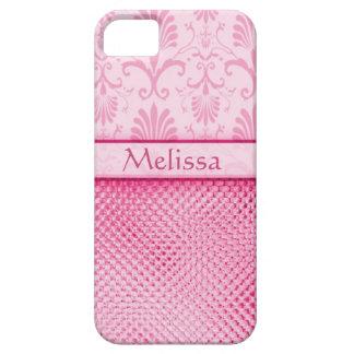 Modelo rosado del efecto de Bling personalizado iPhone 5 Fundas