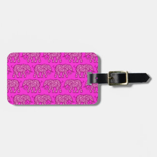 Modelo rosado del elefante que remolina etiqueta para equipaje