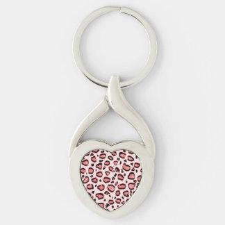 Modelo rosado del estampado de animales del llavero plateado en forma de corazón