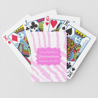Modelo rosado del estampado de zebra de Quinceaner Baraja Cartas De Poker