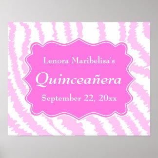 Modelo rosado del estampado de zebra de Quinceaner Posters