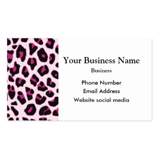 Modelo rosado del estampado leopardo tarjetas de visita