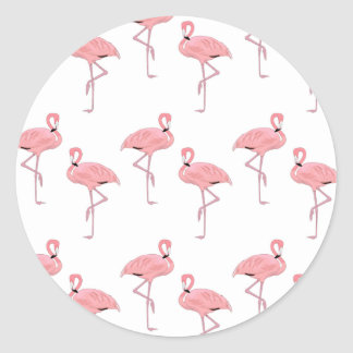 modelo rosado del flamenco pegatina redonda