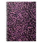 Modelo rosado del guepardo libros de apuntes con espiral