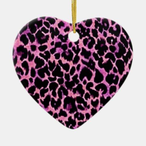 Modelo rosado del guepardo adorno de cerámica en forma de corazón