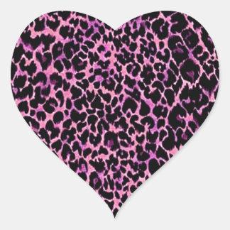 Modelo rosado del guepardo pegatina corazon personalizadas