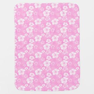 Modelo rosado del Hawaiian de Honu del hibisco Mantita Para Bebé