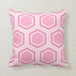 Modelo rosado del hexágono almohadas