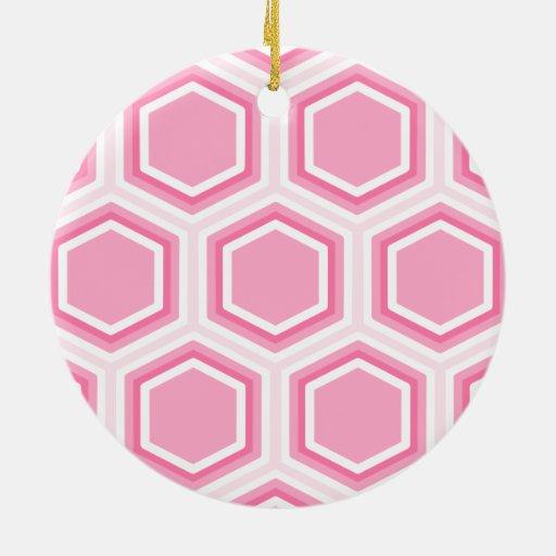 Modelo rosado del hexágono ornamentos de navidad